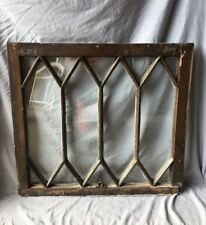 Antique Diamond Window Sash Shabby Tudor Garden Chic 27x30 Vtg 445-19E