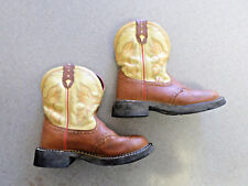 """Justin """"Gypsy"""" Brown and Yellow Leather Western Style Boots. Women's 6.5 B"""