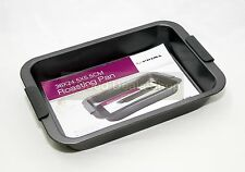 NEW NON STICK DEEP ROASTING PAN TRAY WITH SILICONE HANDLES BAKING 36cm x 24.5cm