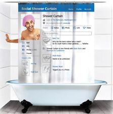 Shower Curtain Social Facebook Design Bathroom Waterproof Fabric 12 Hook 72Inch