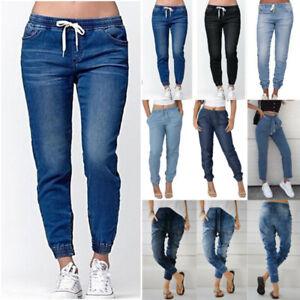 Ladies Elastic Waist Jeans Pants Casual Denim Jogging Long Trousers Plus Size