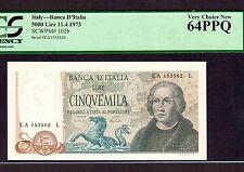 Italy 5000 Lire 1973 P-102b * PCGS Unc 64 PPQ * Columbus *