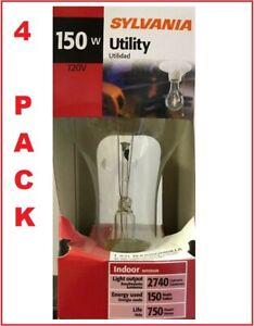 4-PACK SYLVANIA 150-Watt Clear A21 Light Bulb w/Standard Medium Base +FREE SHIP