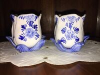 Pair of Delfts Blue HP Tulip Candleholders Vintage