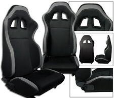 1 PAIR BLACK + GRAY RACING SEATS RECLINABLE + SLIDERS FOR TOYOTA NEW **