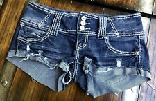DISTRESSED DARK WASH STRETCH ALMOST FAMOUS JEAN SHORT 5 W15.5/L2/R7 NICE EUC 💓