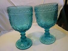 SET OF 2 TURQUOISE  MEDALLION GOBLETS  DRINKWARE GLASSES