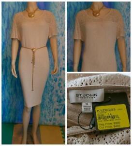 NEW St. John Collection Knits Beige Dress XL 14 16 Short Sleeved Crochet Detail