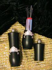 SWEET BLACK LIPSTICK COMPACT NEEDLE HOLDER PINCUSHION~5 hand sewing needles
