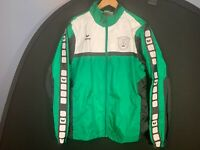Vintage ERIMA SPORTS Mens Green & White Hooded Windbreaker Jacket L Large