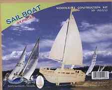 3D Natural Wood Sailboat Puzzle (3D Wood Puzzle 39 pieces)