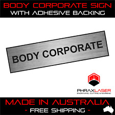 BODY CORPORATE - SILVER SIGN - LABEL - PLAQUE w/ Adhesive 80mm x 20mm(8CM x 2CM)