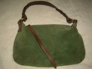 GAP Green Suede Leather Small Mini Purse with Brown Braided Leather Handle