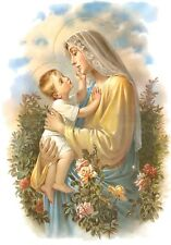 Art print on SILK Madonna and Child w Roses - sweet blues and gold - Fiber Arts