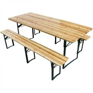 Large Width Outdoor Wooden Folding Beer Table Bench Set (Collect from Store)