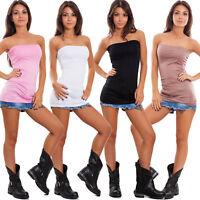 Top fascia donna tubo tube senza maniche bandeau aderente corpetto 99933