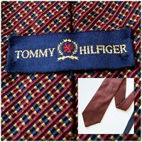 """Tommy Hilfiger Mens Neck Tie Red Blue Gold Diagonal Stripe and HalfBlue 57"""" X 4"""""""