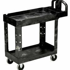 Rubbermaid Commercial Prod Heavy Duty Utility Cart Two Shelf Black