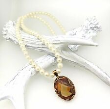 PEARL NECKLACE WITH 10 Carat CITRINE PENDANT IN 18 Carat ROSE GOLD MOUNT