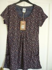 41fcf489ae6 Mantaray Grey Navy Orange Ivory Leaf Print Tunic Top UK 10 EUR 36-38 US