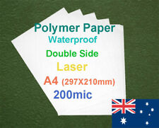 25 X A4 200mic Polymer Waterproof Double Side Laser Print Paper