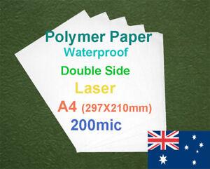 25 X A4 200mic Polymer Waterproof Double Side Laser Print Paper