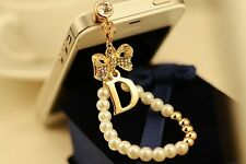 white Pearl bowknot 3.5mm Anti Dust Plug Cover Stopper Charm for iPhone 5 4/4s