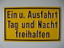 Aluminium-Schild, Ein/Ausfahrt freihalten o. Wunschtext schwarz/gelb, 250x150 mm