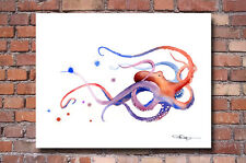 "Octopus Abstract Watercolor Painting 11"" x 14"" Art Print colorful, vibrant"