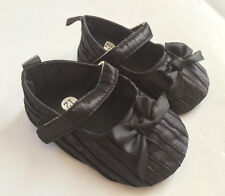 Baby Girl Pleated Satin Mary Janes Shoes Black Pink White 0-18 Months size 2/4/5