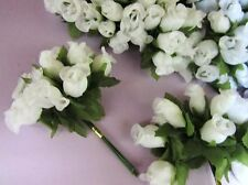 "144 Poly Silk Rose Artificial Flower 4"" Stem/leaf/Wedding Bouquet/Bow H415-White"
