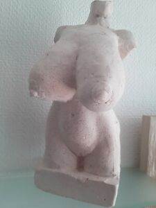 BIG Natural Boobs,  Nude Torso Erotic Art Sculpture,  Unique, 9 in