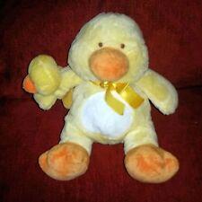 Walmart Yellow Orange Velour Duck with Wrist Rattle 12in Plush Yellow Satin Bow