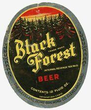 Vintage Irtp 12oz Beer Bottle Label Black Forest Cleveland Home Brewing Co, Oh
