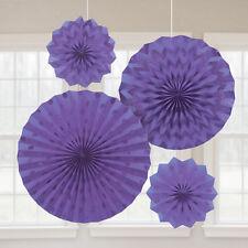 4 X Violet Papier Ventilateurs Suspendus Décorations de Fête Paillettes Finition Violet Décoration