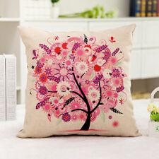 1x Vintage Composite Linen Cushion Case Pink Tree Scatter Cushion Cover 42x42cm