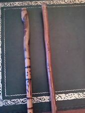Two Vintage Hand Finished Wood Canes Walking Sticks, Probably Hickory & Willow