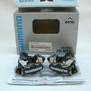 SHIMANO PD-M520 SPD MOUNTAIN BIKE CLIPLESS PEDALS BLK GRAVEL DIRT W/ BOX EUC!!