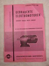Gebrauchte Elektromotoren Motoren Motor Lagerliste 1960 Baumüller Marktredwitz