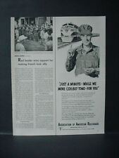 1952 Association of American Railroads Engineer Pocket Watch VTG Print Ad 11558