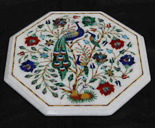 """12"""" Marble Table Top Peacock Inlay Handmade Work For Home Decor"""