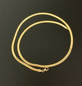 "18K Gold Chain Necklace Omega Herringbone 16"" Real Saudi Gold"