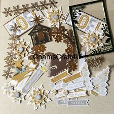 Craft clearout, card toppers, paper die cuts, bundle joblot Christmas mix 1
