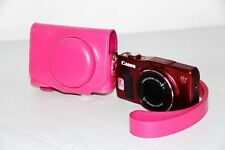 Leather camera case bag grip strap for Canon SX700 SX710 HS  pink / red