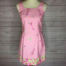 Lilly Pulitzer Vintage Pink Martini Umbrella Green Checkered Dress Sz 6