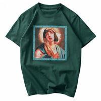 Hip Hop T shirt  Virgin Mary Blouse Men Women Shirt Streetwear Cotton Top Tee 0c