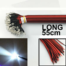 US Stock (50pcs) Pre Wired 5mm LED White 55cm Prewired 12V Light Emitting Diode