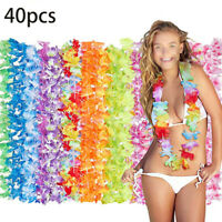 40pcs Tropical Hawaiian Flower Lei Styles Colorful Artificial Garland Necklace