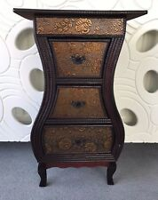 Chinese Style 3 Drawer Storage Unit Bedside Table Cabinet Dark Wood