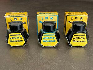 Vintage Waterman Pen Ink Glass Bottle & Box Black Blue Sea Blue NEW UNOPENED